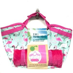 Flamingo Print Beach Tote with Towel